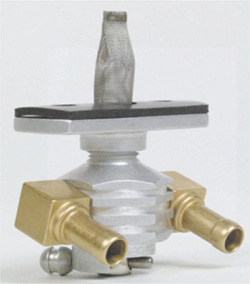 "Dual Outlet On/Off Only Hex Finned Valve-1/4"" NPT-90° 5/16"" hose barbs-with adapter-Aluminum"