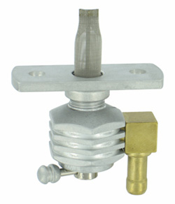 "Single Outlet On/Off Hex Finned Valve-1/4"" NPT-6000 Series-90° 5/16"" hose barb-with adapter-Aluminum"